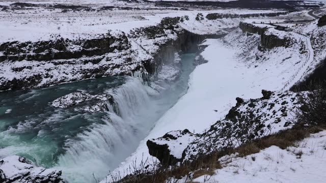 gulfoss waterfall in iceland - wilderness stock videos & royalty-free footage