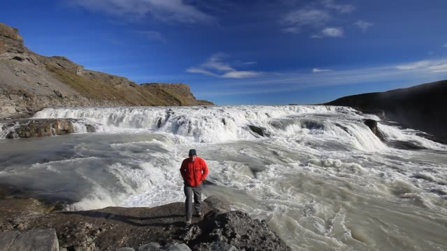 gullfoss, icelands most famous and arguably most impressive waterfall. - canyon stock videos & royalty-free footage