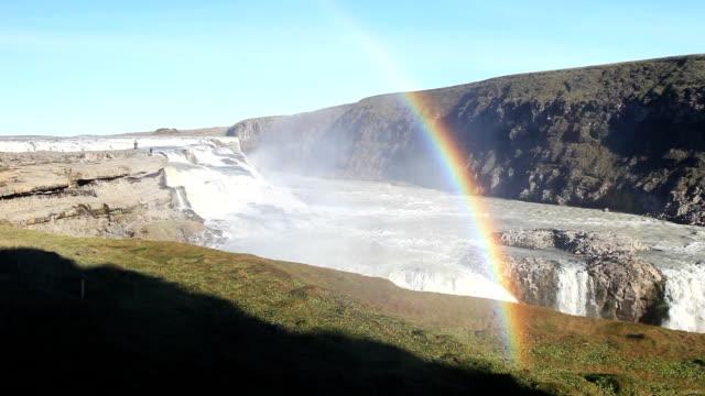 gullfoss waterfall, iceland - rainbow stock videos & royalty-free footage