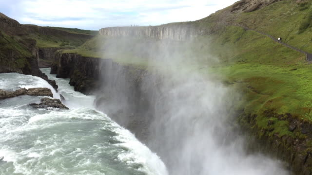gullfoss waterfall in iceland in summertime - reykjavik stock videos and b-roll footage