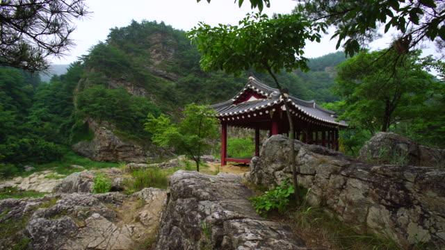 gumijeong paleozoic area scenery of jeongseon county, gangwon province, south korea - gazebo stock videos & royalty-free footage