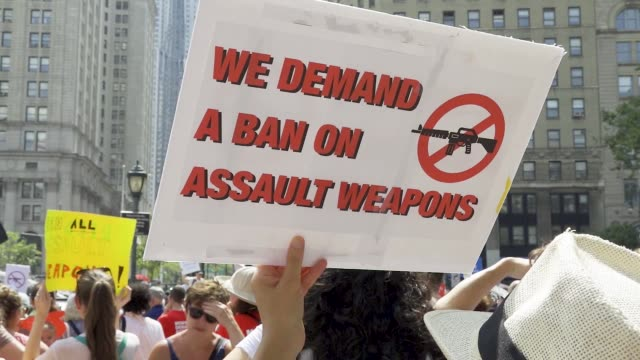 gun control rally at foley square in downtown manhattan in light of those killed injured and impacted by gun violence activist demand more effective... - gun violence protest stock videos & royalty-free footage