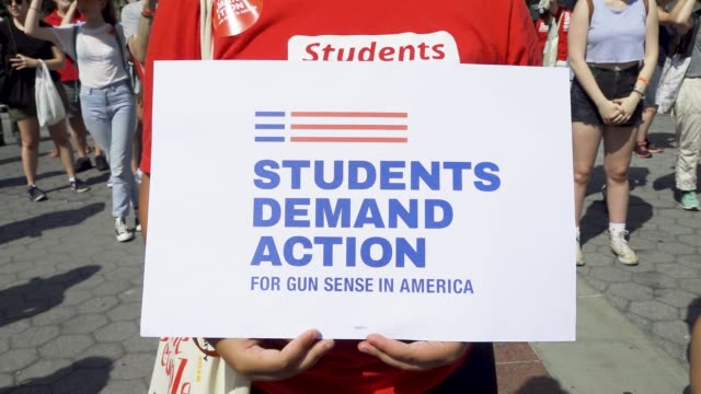 gun control rally at foley square in downtown manhattan in light of those killed, injured and impacted by gun violence. activist demand more... - march for our lives stock videos & royalty-free footage
