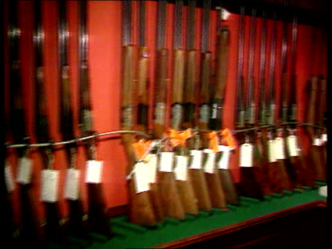 gun law review scotland stirling seq rifles around walls of room - stirling stock videos and b-roll footage