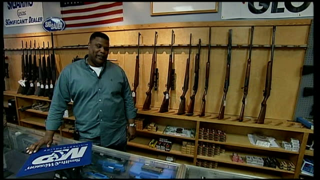 gun sales soar as americans anticipate restrictions by new president; early curtis interview sot - sales occupation stock videos & royalty-free footage