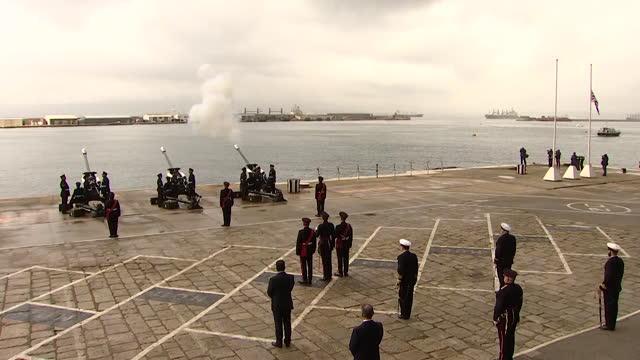 gun salue on island of gibraltar, following the death of prince philip, duke of edinburgh - artillery stock videos & royalty-free footage