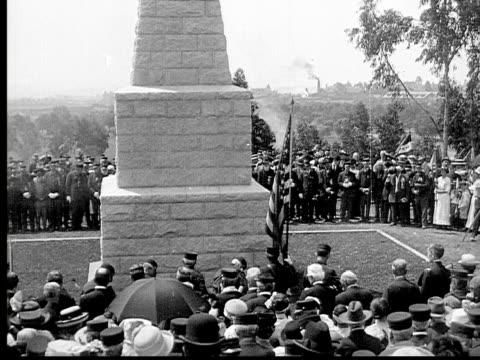 1913 ha ms b&w gun salute for civil war veterans at cemetary - 1913 stock videos & royalty-free footage