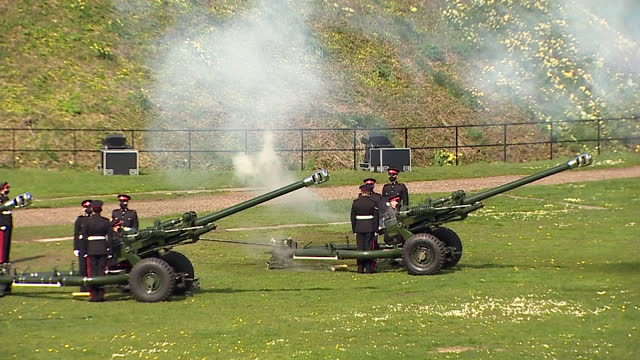 gun salute tribute at cardiff castle, following the death of duke of edinburgh - artillery stock videos & royalty-free footage