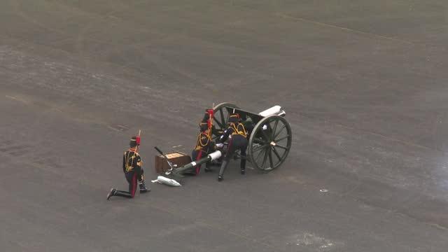 gun salute tribute at woolwich royal artillery barracks, following the death of duke of edinburgh - artillery stock videos & royalty-free footage