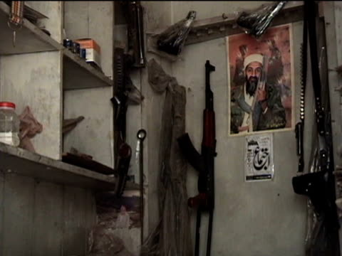 gun store with usama bin laden poster, sakha kot in tribal zone at afghan border, federally administered tribal areas, pakistan, audio - male likeness stock videos & royalty-free footage
