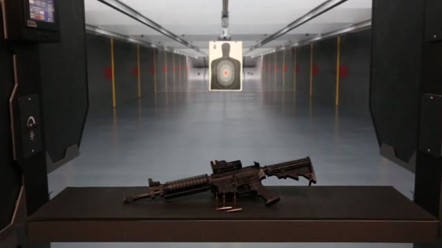a gun target is prepared at the sky range shooting club at the solaire resort and casino operated by bloomberry resorts corp in manila the... - ライフル点の映像素材/bロール