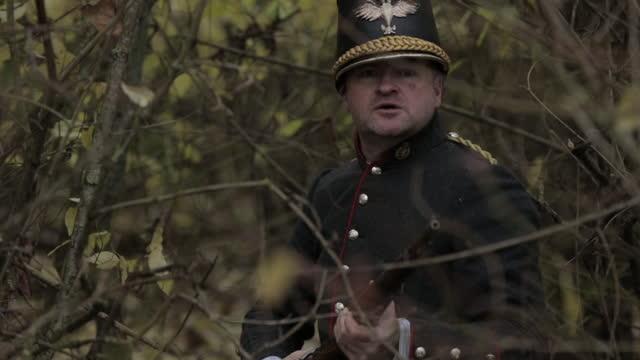gunman fires rifle - late 1800s reenactment - military uniform stock videos & royalty-free footage