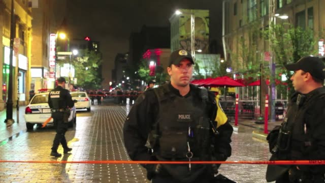 a gunman was arrested after shooting two people one of them fatally at the victory speech of quebec's pauline marois whose separatist party is... - québec provincia video stock e b–roll