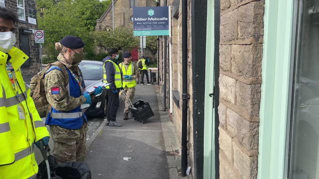 gunners from the royal horse artillery and bolton council workers distribute covid-19 polymerase chain reaction tests to local residents on may 24,... - geographical locations stock videos & royalty-free footage