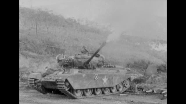 guns firing on the countryside in south korea during the korean war - 1951 stock videos & royalty-free footage