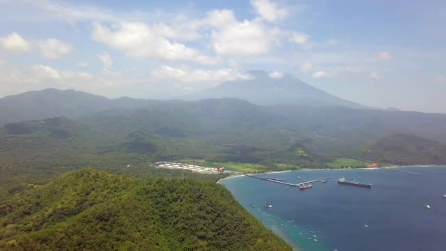 Gunung Agung Aerial View behind Oil Industry