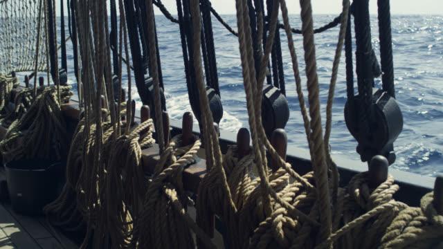 gunwale of tall ship under sail, grenada - mast stock videos & royalty-free footage