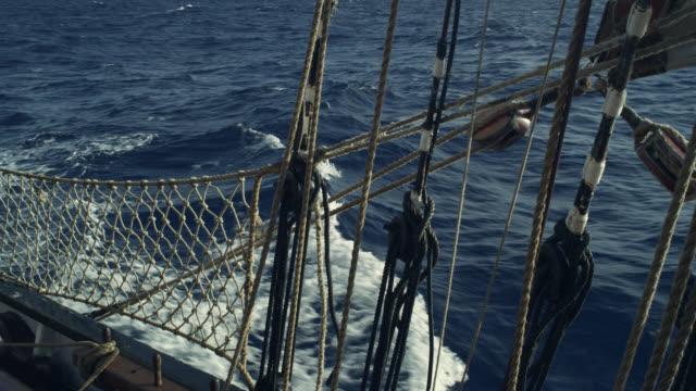 stockvideo's en b-roll-footage met gunwale of tall ship under sail, grenada - kielwater
