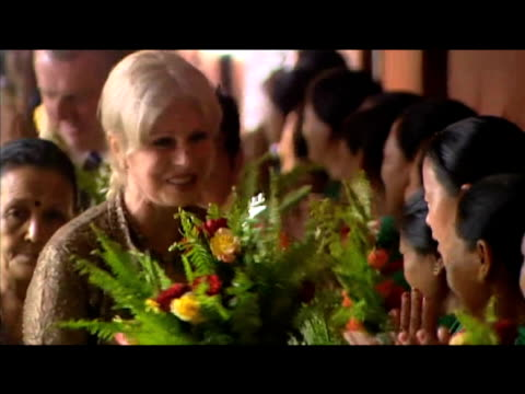 gurkha campaigner joanna lumley is showered with flowers during her visit to nepal; 27 july 2009 - rathaus stock-videos und b-roll-filmmaterial
