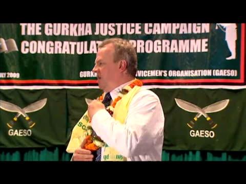 gurkha justice campaigner peter carroll comments on rights of world war veterans during speech nepal; 27 july 2009 - rathaus stock-videos und b-roll-filmmaterial
