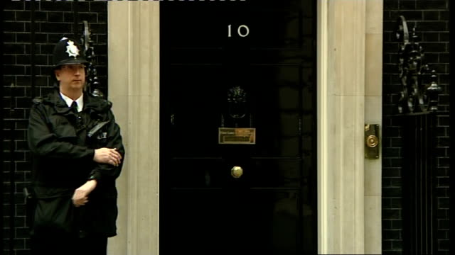 joanna lumley visit to downing street england london downing street ext joanna lumley along down downing street / lumley posing for photocall outside... - joanna lumley stock videos & royalty-free footage