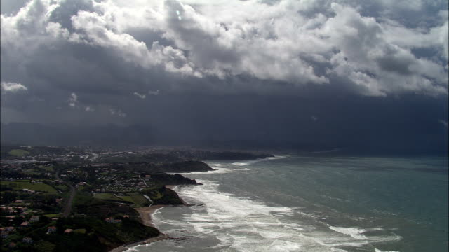 guéthary  - aerial view - aquitaine, pyrénées-atlantiques, arrondissement de bayonne, france - aquitaine stock videos and b-roll footage