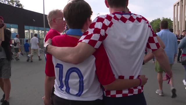 gutted but very very proud croatia fans leave luzhniki stadium their heads held high happy to be second in the world after losing in the world cup... - luzhniki stadium stock videos & royalty-free footage