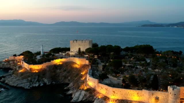 guvercinada (pigeon island), kusadasi, turkey - greek culture stock videos & royalty-free footage