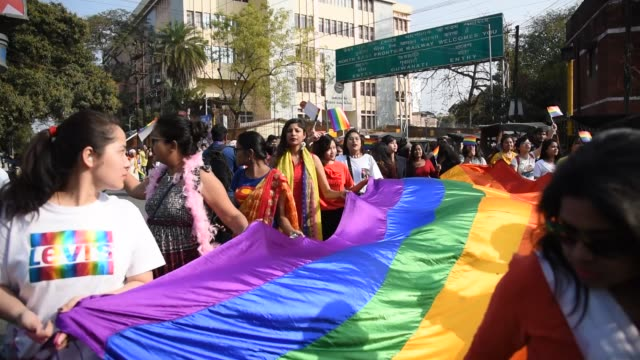 guwahati, assam, india. 9 february 2020. supporters and members of lgbtqi community during a queer pride parade in guwahati, assam, india on sunday,... - pride stock videos & royalty-free footage
