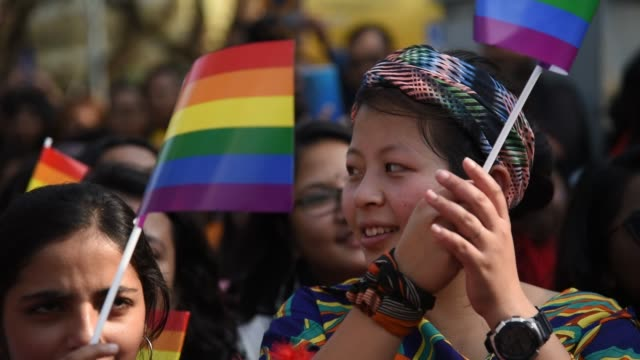 guwahati, assam, india. 9 february 2020. supporters and members of lgbtqi community during a queer pride parade in guwahati, assam, india on sunday,... - asian stock videos & royalty-free footage