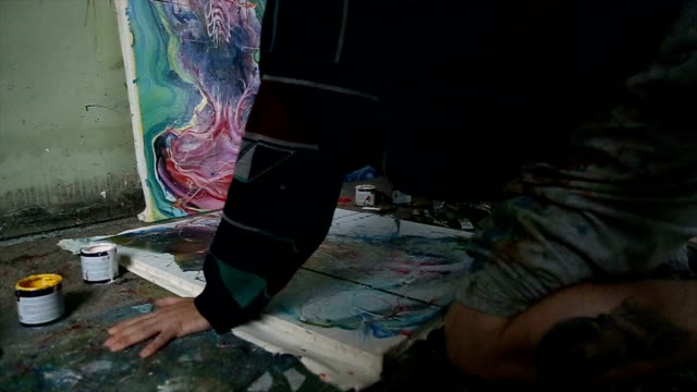 guy painting in studio - atelier tent stock videos and b-roll footage