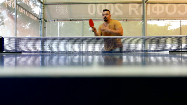 guy playing and winning a table tennis game - table tennis bat stock videos & royalty-free footage