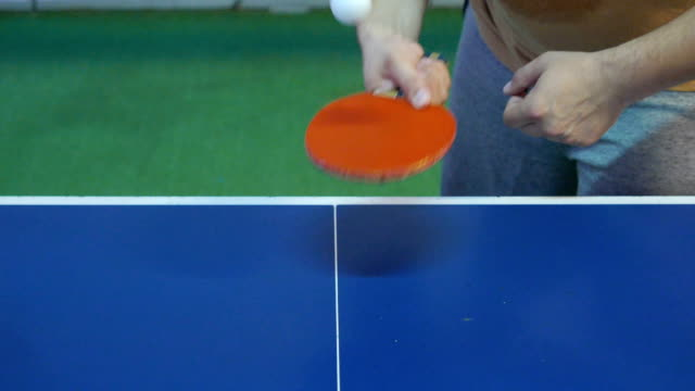guy showing off with a table tennis racket and ball - table tennis stock videos & royalty-free footage
