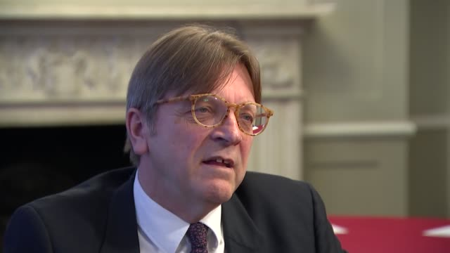 guy verhofstadt interview; guy verhofstadt interview; england: london: int guy verhofstadt interview sot - eu squeezed between populist trump and... - ポピュリズム点の映像素材/bロール