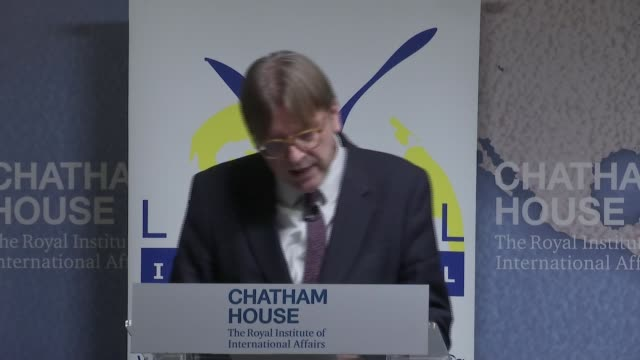 guy verhofstadt speech guy verhofstadt speech england london chatham house int guy verhofstadt speech sot re donald trump european union threat of... - populism stock videos and b-roll footage