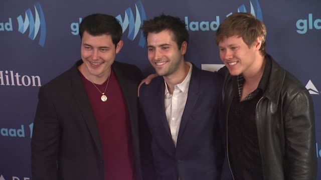 guy wilson christopher sean and freddie smith at the 26th annual glaad media awards at the beverly hilton hotel on march 21 2015 in beverly hills... - the beverly hilton hotel stock videos & royalty-free footage