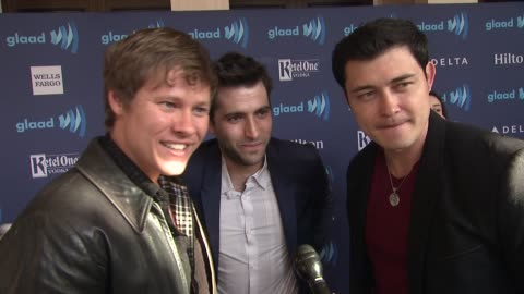 vídeos y material grabado en eventos de stock de guy wilson, christopher sean, and freddie smith on being at the event, on being nominated, and on 'days of our lives' at the 26th annual glaad media... - telenovela