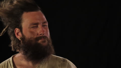 guy with wind in face - beard stock videos & royalty-free footage