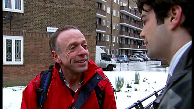 guy's hospital employee walks 18 miles through snow to get to work; peter cartwright interview sot - peter snow stock-videos und b-roll-filmmaterial