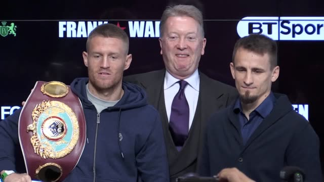 vídeos de stock e filmes b-roll de gvs and clips from the press conference ahead of terry flanagan's wbo world lightweight world championship defence against petr petrov. flanagan says... - lightweight