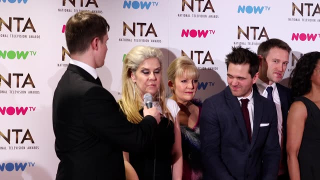 GVs and interview with the cast of Casualty which won the Best Drama award at the National Television Awards 2017