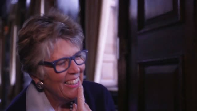 gvs and interview with tv chef prue leith as she dismisses reports that she is set to replace mary berry on the great british bake off suggesting she... - prudence leith stock videos and b-roll footage