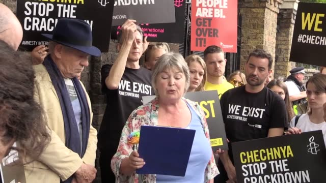 GVs as Sir Ian Mckellen joined protesters outside the Russian Embassy to protest against the treatment of the Chechnyan LGBT Community Sir Ian...