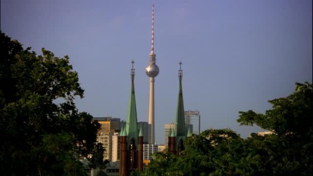 gvs berlin skyline on sunny day - berlin stock videos & royalty-free footage