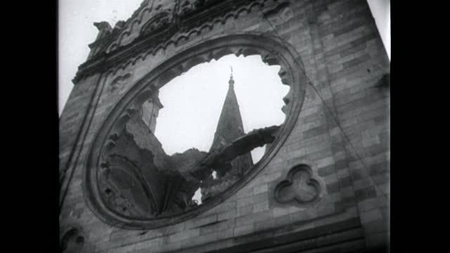 gvs bomb-damaged kaiser wilhelm memorial church in berlin; 1949 - 1949 stock videos & royalty-free footage