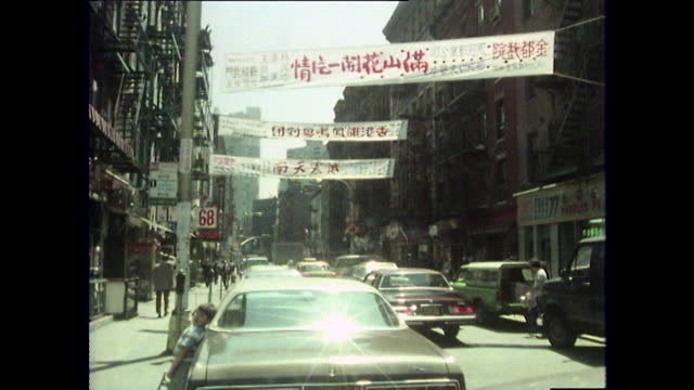 gvs chinatown streets and signage in new york; 1980 - pagoda stock videos & royalty-free footage