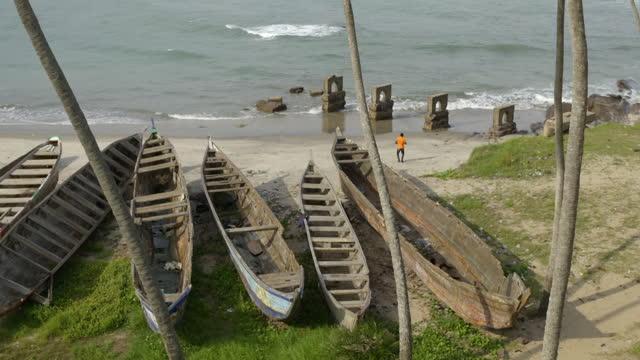 gvs coastline of elmina, ghana - elmina stock videos & royalty-free footage