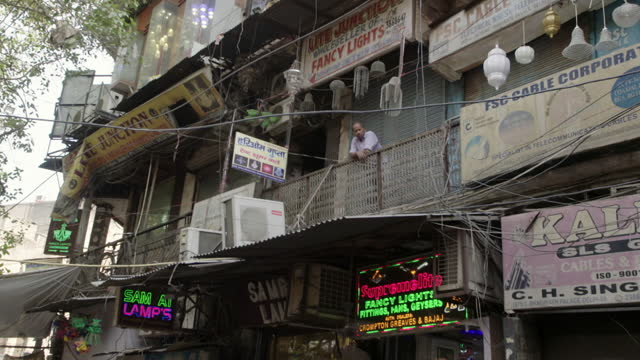 gvs electrical market off chandni chowd, old delhi - placard stock videos & royalty-free footage