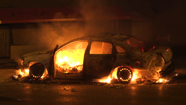 GVs from Ferguson Missouri where protests and riots erupt onto the streets following the grand jury decision not to indict Officer Darren Wilson in...