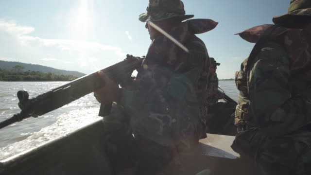 gvs from peru where cocaine production is on the rise and the military is intensifying operations to halt it - militärisches trainingslager stock-videos und b-roll-filmmaterial
